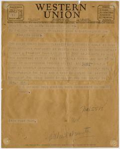 Telegram to Marine Iron about the Ship Evergreen