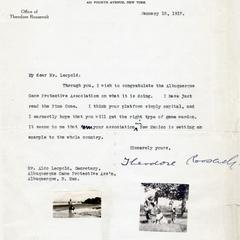 Letter from Teddy Roosevelt to Aldo Leopold.