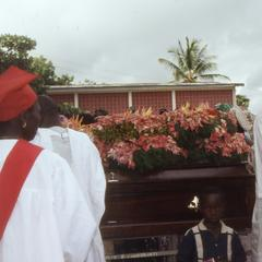 Outside the church at the Makinwa funeral