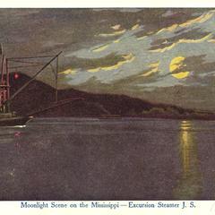 Moonlight scene on the Mississippi River, Excursion Steamer J.S.