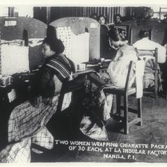 Women wrapping cigarettes at La Insular Factory, Manila, 1920-1930