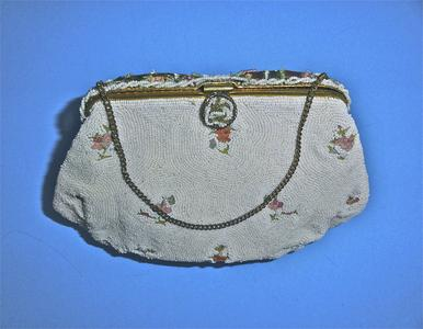 White beaded evening bag with tambour embroidery