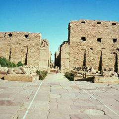 Entrance to Temple of Karnak through Avenue of Ram-Headed Sphinxes