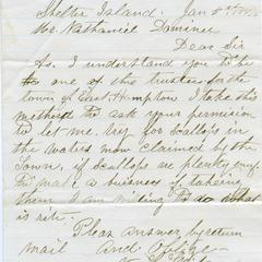 Letter from N.L. Wilcox to Nathaniel Dominy VII, 1874
