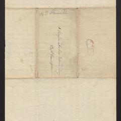 Letter from Abm. P. Sherrill to Major Felix Dominy, 1834