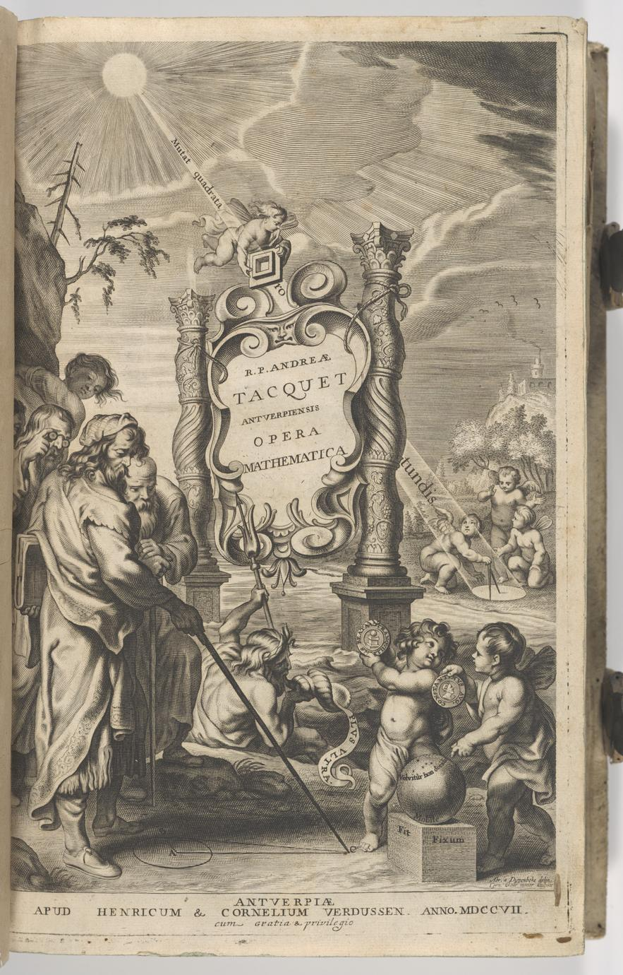 "Engraved title page from Tacquet's ""Opera mathematica"""