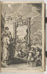 """Engraved title page from Tacquet's """"Opera mathematica"""""""