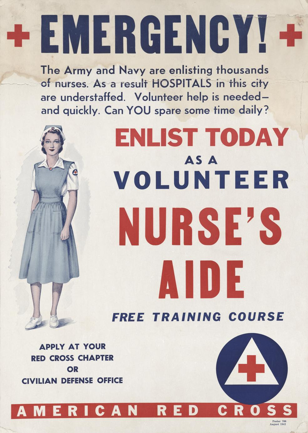 Red Cross volunteer nurses aide poster