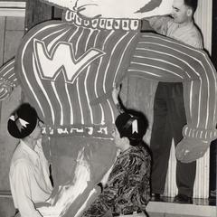 Cardboard Bucky Badger decoration