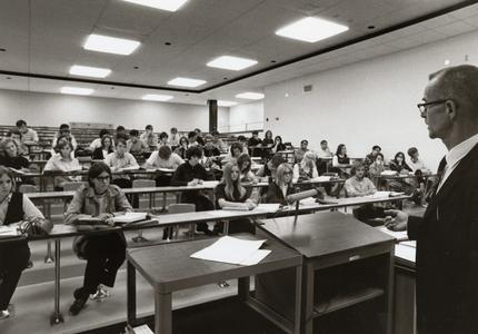 Sociology professor James Phillips lecturing a class