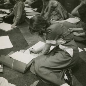 "Students during ""Let's Draw"" radio program"