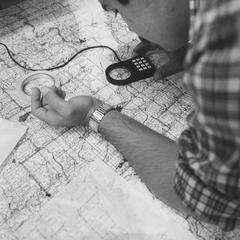 Student working with map