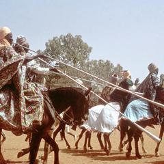 Long Horns (Kakaki) Used by Horseman in Parade at Sallah Celebration