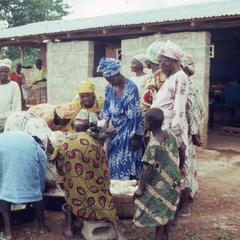 Women organizing cassava