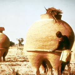Rounded Granary of Packed Earth Construction in Savannah Region of Northern Ghana