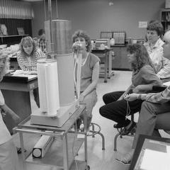 Elizabeth Hayes with students