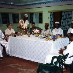Men's table at Fareeda's wedding reception