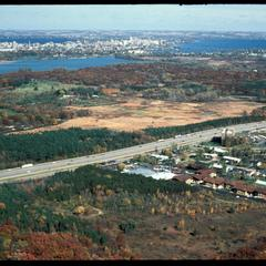 Aerial view of Grady Tract, beltline highway, and most of the University of Wisconsin Arboretum
