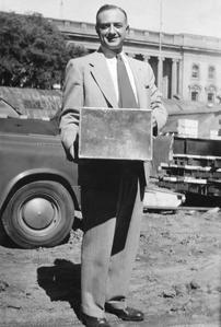 Louis Kaplan with Memorial Library cornerstone