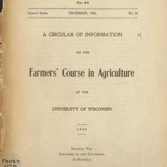 A circular of information on the Farmers' Course in Agriculture at the University of Wisconsin : 1903