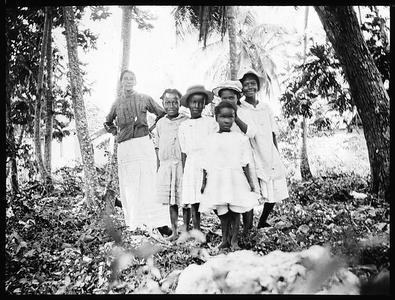 Teacher and pupils near Ocho Rio, Jamaica