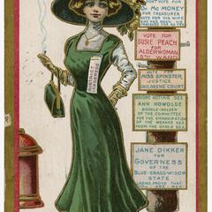 Queen of the poll, Suffragette Series no. 9 postcard