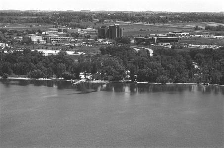 Aerial view of campus from the bay