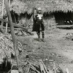Akha woman carrying water in the village of Phate in Houa Khong Province