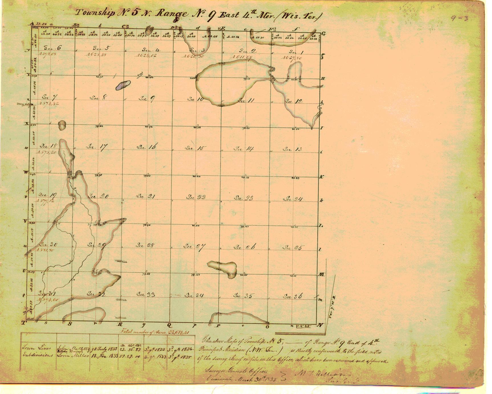 [Public Land Survey System map: Wisconsin Township 05 North, Range 09 East]