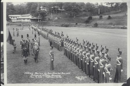 Gen. Charles Burnett reviews the military in formation, Philippine Military Academy, Baguio