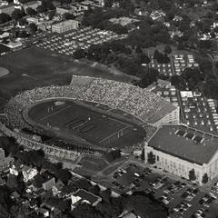 Aerial view of '100' in Camp Randall Stadium