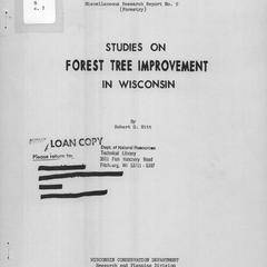 Studies on forest tree improvement in Wisconsin