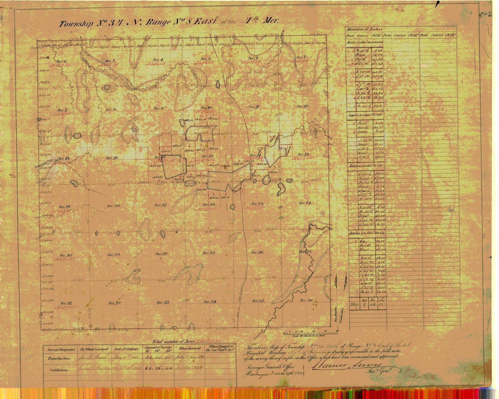 [Public Land Survey System map: Wisconsin Township 34 North, Range 08 East]