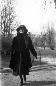 Woman walking outside in winter