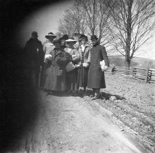 Group posed for picture on country road