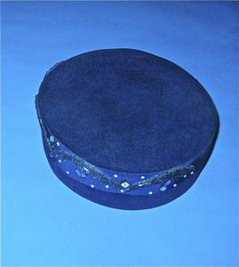 Royal blue pillbox-style hat