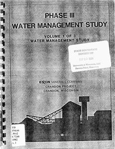 Phase III water management study : Crandon Project