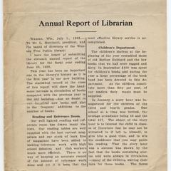 Annual report of Librarian of the Wausau Free Public Library 1908