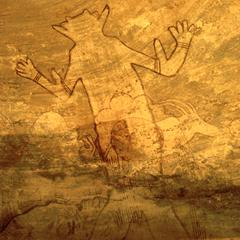 Petroglyph : Ritualistic Figure Dominates Human and Animal Forms