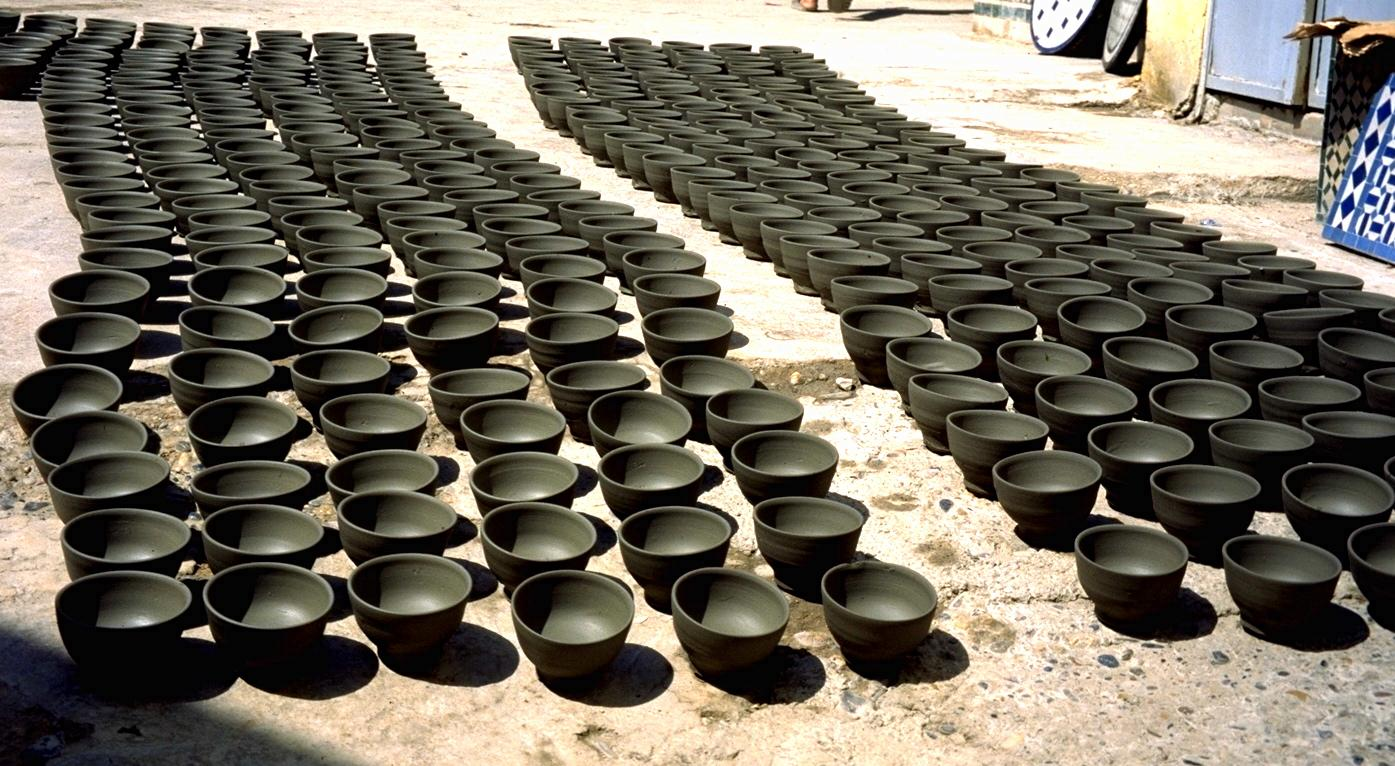 Pottery Drying in the Street of Fez Medina