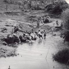 Villagers bathing in the Nam Tang River in Houei Kong Cluster in Attapu Province