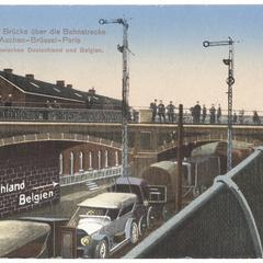 Herbesthal. Brücke über die Bahnstrecke Cöln--Aachen--Brüssel--Paris, Landesgrenze zwischen Deutschland und Belgien
