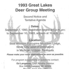 [Notes from the Great Lakes Deer Group Annual Meeting, 1993]