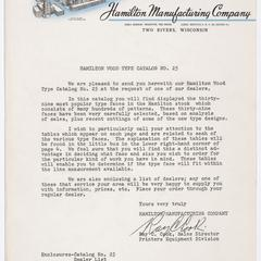 [Letter from Ray C. Cook, sales director of Hamilton Manufacturing Company regarding Hamilton wood type catalog no. 25]