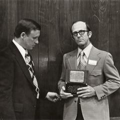 Robert Clark and James Alexander, University of Wisconsin--Marshfield/Wood county building naming ceremony, May 4, 1974