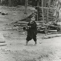 Lanten female child in traditional dress in Houa Khong Province