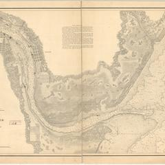 Preliminary chart. Lower reach of Saginaw River and bar in front, (Saginaw Bay, Lake Huron.)