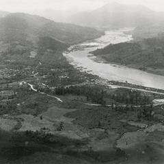 Aerial view of the town of Nam Kheung on the Mekong River in Houa Khong Province