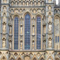 Wells Cathedral exterior west end great windows