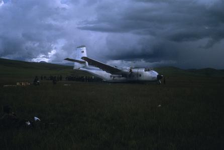 Airplane stuck in mud